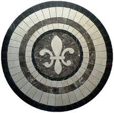 floor marble medallion fleur de lis travertine tile mosaic