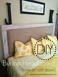 Vintage Door Headboard The Sustainable Couple Diy Padded Burlap Headboard From An Old