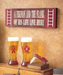 firefighter home wall saying fireman wood sign decor