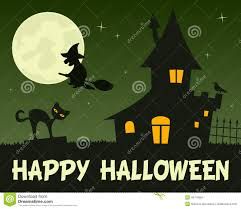 halloween witch and haunted house stock vector image 44776584