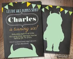 where the wild things are invitation boy birthday invitation