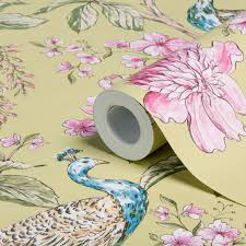 hibiscus citrus peacock floral wallpaper departments diy at