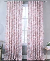 envogue coral red white paisley damask window curtain panels