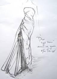 1957 58 ysl for christian dior u0027lys noir u0027 dress sketch dior