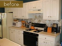 how to paint tile backsplash in kitchen before and after painted tile backsplash curbly