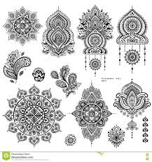 vector set of indian floral paisley ornaments stock vector
