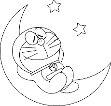 doraemon on moon coloring page boys pages of kidscoloringpage