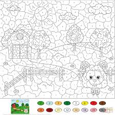 rural landscape color by number free printable coloring pages