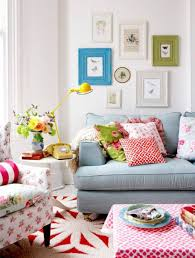 colorful cottage style living rooms with wall framed art and white