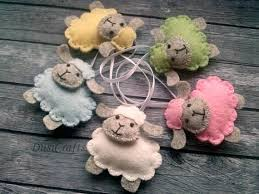 easter decorations sheep wool felt ornament pastel color