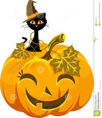 poster funny pumpkin and cat in the hat halloween stock vector