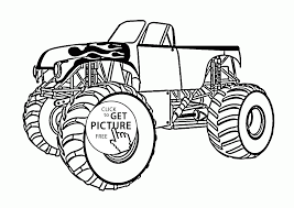 monster truck with an open top coloring page for kids