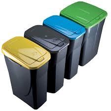 poubelle cuisine tri poubelle de tri sélectif cuisine 25 litres couvercle jaune