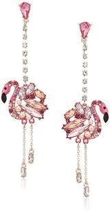 pink drop earrings betsey johnson critters flamingo linear drop earrings