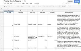 Google Templates Resume How To Make A Google Doc Spreadsheet Template For A Dynamic Resume