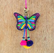 Butterfly Home Decor Accessories Multicolor Butterfly Tassel Handmade Boho Bag Charm Tribal