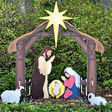 printed outdoor nativity set