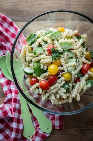 pasta salad with tomatoes and cucumbers jelly toast