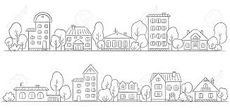 trees and houses in a row for your frame border royalty free