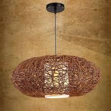 Cheap Light Fixtures 18 Handmade Rattan Pumpkin Shape Style Pendant Fixture Pendant