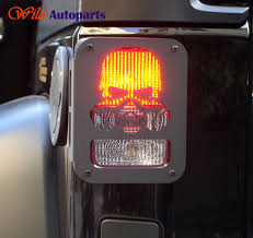jeep wrangler brake light cover 2x metal rubicon sahara skull taillight rear light l cover