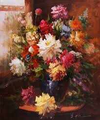 the beautiful flowers with many colors flower painting oil