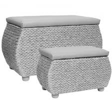 Seagrass Storage Ottoman Hartleys Grey Woven Seagrass Storage Trunks Pair