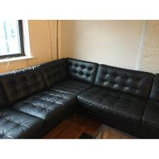 Faux Leather Sectional Sofa With Chaise Ikea Landskrona Black Faux Leather Sectional Sofa Aptdeco