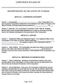 Corporate Bylaws Template free florida corporate bylaws template pdf word