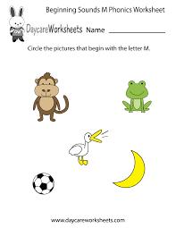 free beginning sounds letter m phonics worksheet for preschool