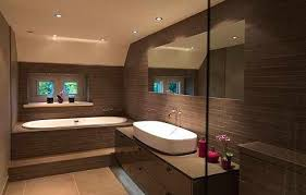 spacious bathroom in chocolate with a combination tiling and