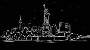liberty statue and new york skyline time lapse animation on black