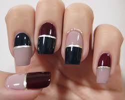 stylish nail design color block with glossy blue and maroon and