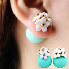 two sided earrings two sided flower stud earrings hot deal bag