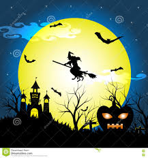 halloween night background halloween night with silhouette dry tree old witch castle