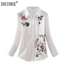 embroidered blouses dhihkk floral embroidered blouse shirt slim white tops