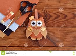 felt brown owl toy shabby chic style kids crafts scissors