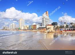 Panoramic View Telaviv Beach Mediterranean Sea Stock Photo