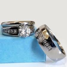 his and hers wedding rings cheap wedding ring set his hers stainless steel men women cz