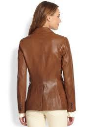 leather riding jackets ralph lauren blue label custom leather riding jacket in brown lyst