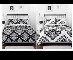 Black Goose Down Comforter Morgan Teen Black White Damask Reversible Queen Comforter Set