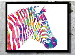 watercolor art print zebra painting home decor animal watercolor