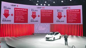 nissan canada factory rebates nissan says 2018 leaf offers up to 6 800 in bonus value inside evs
