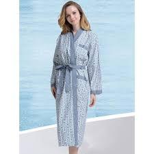 robe de chambre d été en coton col kimono bleue grise pour femme