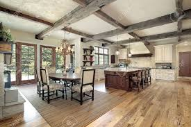 Large Kitchen With Island Large Kitchen With Island And Ceiling Wood Beams Stock Photo