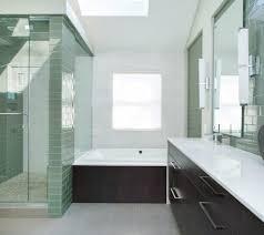kansas city green glass tile bathroom contemporary with skylight