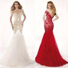 cheap sale 2015 elegant mermaid ball gown white red lace formal