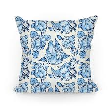 floral pattern blue pillows human