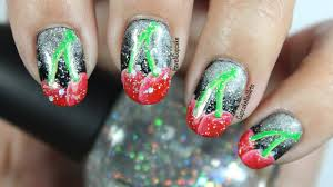 fruit nail art cherry sparkle nails youtube