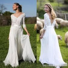 beach vintage plus size long sleeve wedding dresses v neck 2017